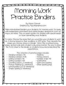 Morning Binders - Goal based morning work