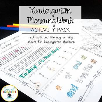 Morning Work - Math & Literacy {Morning Brain Train 1st Month in Kindergarten}