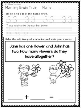 Morning Work - Math & Literacy {Morning Brain Train 8th Month in Kindergarten}