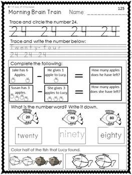 Morning Work - Math & Literacy {Morning Brain Train 6th Month in Kindergarten}