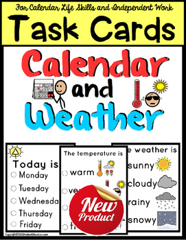 Morning CALENDAR and WEATHER TASK CARDS for Life Skills wi