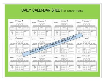 Morning Calendar Sheet