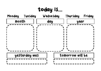 Morning Calendar Student Sheet