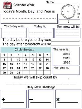 Morning Calendar Work Journal 2016 2017 2018