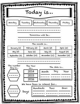 Morning Calendar Worksheet