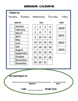 Morning Calendar Worksheet