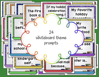 Morning Chat December Prompts: Whiteboard and Chalkboard Themed