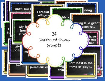 Morning Chat March Prompts: Whiteboard and Chalkboard Themed