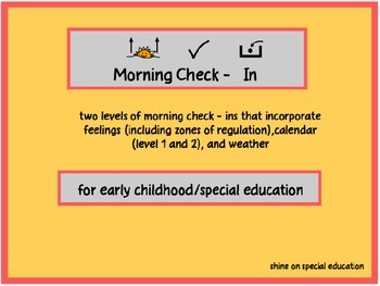 Morning Check In - Adapted Visuals for Special Education