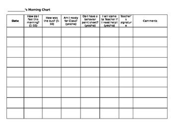 Morning Check In Sheet