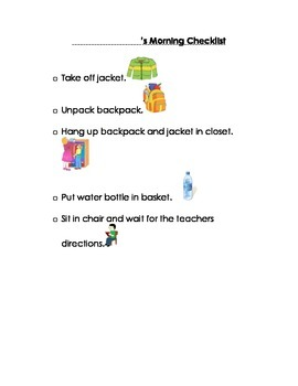 Morning Checklist for Students