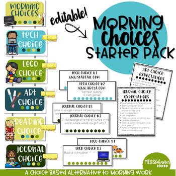 Morning Choices   Morning Work Alternative