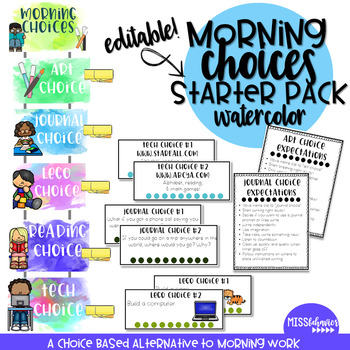 Morning Choices Starter Pack, WATERCOLOR version - Alternative to Morning Work