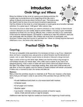 Morning Circle Activities and Calendar Activities