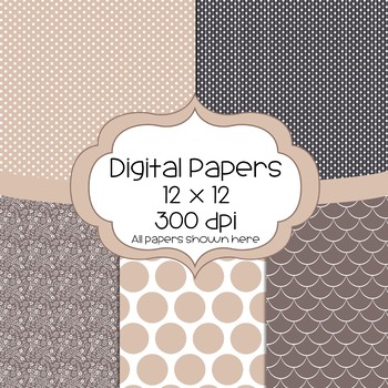 Morning Coffee Digital Papers - 5 Designs and 1 Frame  - cream, tan, brown