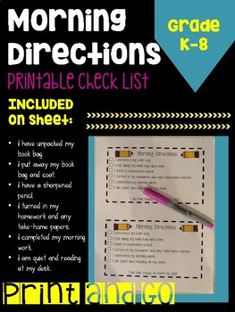 Morning Directions Checklist