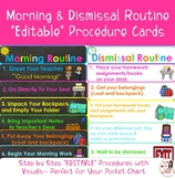 Morning & Dismissal Routines Procedure Cards (EDITABLE)