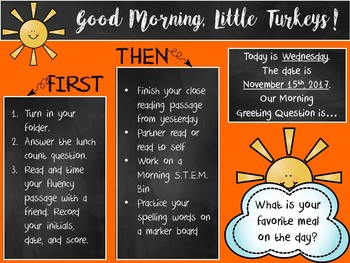 Morning Greeting Editable Powerpoint (Sunshine & Chalkboards)