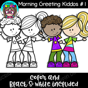 Morning Greeting Kiddos #1 Clipart {Scrappin Doodles Clipart}