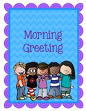Morning Greeting Posters Blue & Purple Chevron