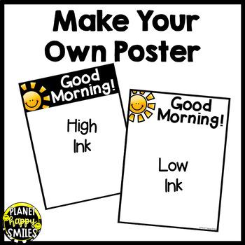 Morning Greeting or Saying Good-Bye Signs ~ Black and White Polka Dot