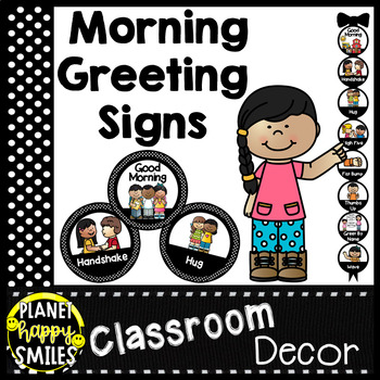 Morning Greeting or Saying Good-Bye Signs ~ Black and White Polka Dot