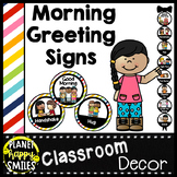 Morning Greeting or Saying Good-Bye Signs Bright Stripes Theme