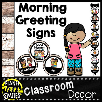 30+ Morning Greeting or Saying Good-Bye Signs Distressed Wood Theme