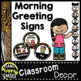 Morning Greeting or Saying Good-Bye Signs Jungle Safari Theme