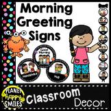 Morning Greeting or Saying Good-Bye Signs Monster Theme