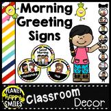 Morning Greeting or Saying Good-Bye Signs Pineapple Theme