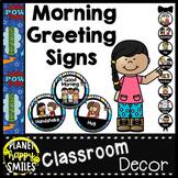 Morning Greeting or Saying Good-Bye Signs Super Hero Theme