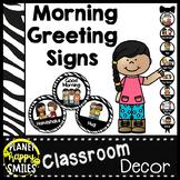 Morning Greeting or Saying Good-Bye Signs Zebra Theme
