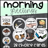 """Morning Greeting & Afternoon Goodbye Choice Cards and Signs- """"White Farmhouse"""""""