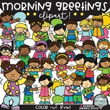 Morning Greetings Clipart {school kids clipart}