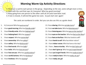 Morning Greeting Warm-Up Activity