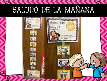 Morning Greetings in Spanish and English Chevron and Polka-Dot Style