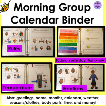Morning Work Calendar Interactive Binder for Autism and Special Education