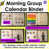 Morning Work Calendar Binder Interactive for Autism and Sp