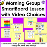 Morning Work Calendar SmartBoard Lesson with Video Choices for Special Education