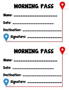 Morning Hall Passes - Set of 3
