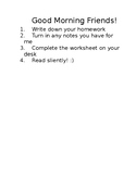 Morning Instruction Word