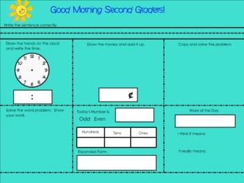 Morning Jumpstart Seatwork Smartboard Lesson
