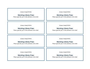 Morning Library Pass Template