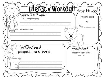 Morning Literacy Work! (try it for a week!)