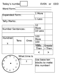 Morning Math Chart