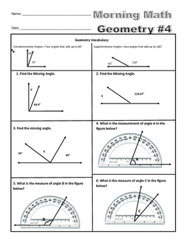 Morning Math - Geometry - 4th Grade