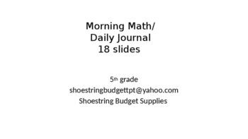 Morning Math Journals