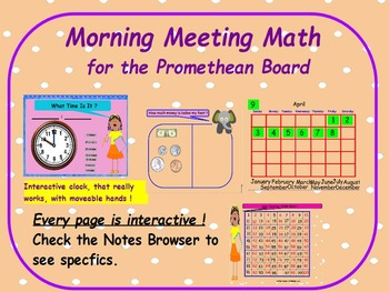 Morning Math Meeting for Promethean Board Using Common Core