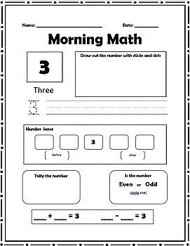 Morning Math! Number Sense #'s 1 - 30